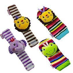 TOYMYTOY 4PCS Baby Infant Soft Wrists Rattles Toy Cute Plush