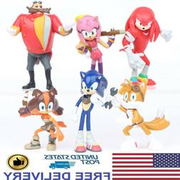 Sonic The Hedgehog Character Knuckles Tails 6 PCS Action Fig