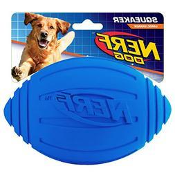 Nerf Dog Squeak Ridged Rubber Football Dog Toy, Medium/Large