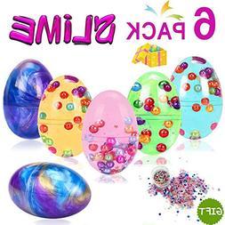 Duperym 6 Pack Squishy DIY Fluffy Egg Slime Kit 2 Galaxy Slu