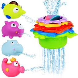 BBLIKE Stacking Cups Sea Animals and Squirting Bath Toys Rub