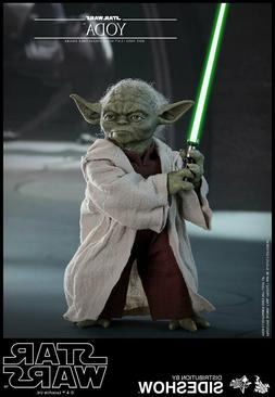 """HOT TOYS STAR WARS EP II YODA 12"""" FIGURE 1/6 MMS495 NEW IN H"""