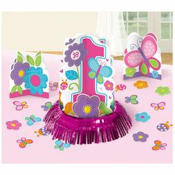 23 Piece Sweet Pink Butterfly Girl's 1st Birthday Party Tabl
