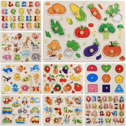 Toddler Kids Alphabet Animal Wooden Puzzle Toy Baby Learning