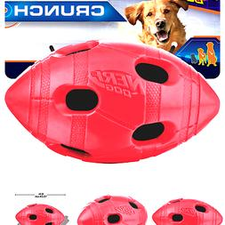 Nerf Dog TPR Red Crunch & Squeak Bash Football Dog Toy, Red,