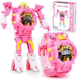 Transformers Toys for Kids,Girls Boys Digital Watch Pink Rob