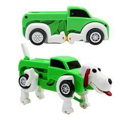 Kids Transforming Robot Dog Vehicle Trunk Car Wind up Smart