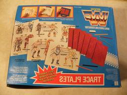 UNUSED - Vintage 1991 WWF Trace Plates Coloring Color Hasbro
