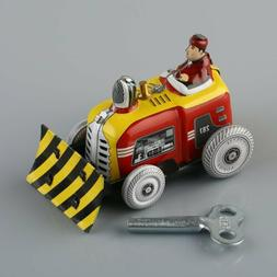 Vintage Bulldozer Tractor Model Tin Toy w/ Wind-up Key Colle