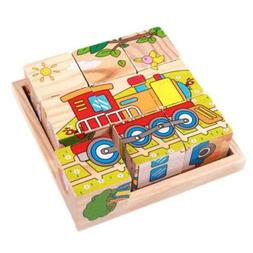 Wood Puzzles In Storage Box Playset Educational Learn Toy fo