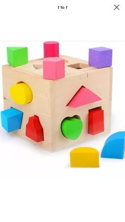Wood Shape Sorting Cube - Box Educational Toy for Toddlers Y