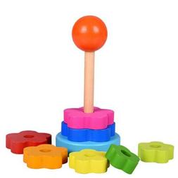 Wood Toys Wooden Stacking Rings Rainbow Tower Learning for K
