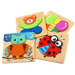 Wooden Animal Jigsaw Puzzles for Toddlers Kids,Educational T