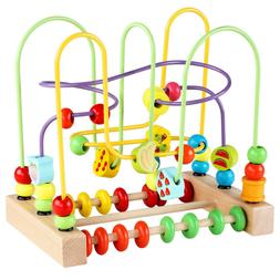 Wooden Bead Maze Wooden Baby Toddler Toys Circle First Bead