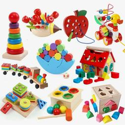Wooden DIY String Beads Alphabet Puzzle Board Blocks Kids Ea