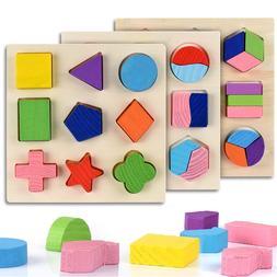Wooden Geometric Shapes Montessori <font><b>Puzzle</b></font