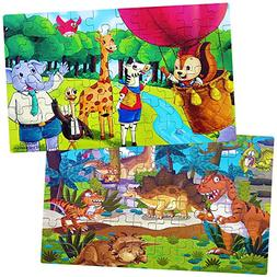 Wooden Jigsaw Puzzles for Kids,Set of 2 Toddlers Puzzles,Din