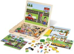 Melissa & Doug Wooden Magnetic Matching Picture Game with 11