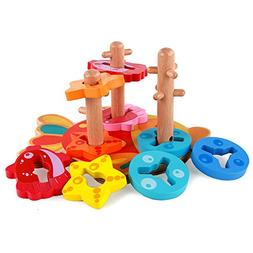 Joqutoys Wooden Sorting and Stacking Blocks Intelligence Fis